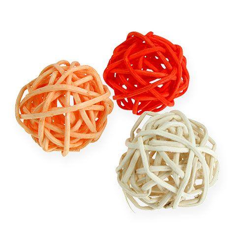 Rattanball arancione, albicocca, sbiancato 72 pezzi
