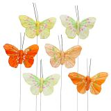 Farfalle di piume 6 cm giallo, arancione 24 pezzi