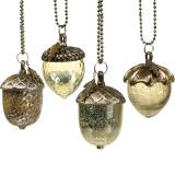 Ghianda per decorazione d'albero di Natale per appendere metallo vetro oro 11 cm 4 pezzi