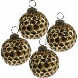 Palla di Natale a nido d'ape marrone, dorata Ø7,5cm 4 pezzi