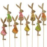 Coniglio decorazione pasquale con stecca in legno assortito naturale 11cm 16p