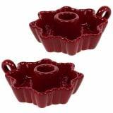 Candeliere in ceramica rosso Ø12cm 2 pezzi