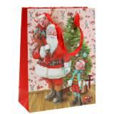 """Sacchetto regalo in carta """"Babbo Natale"""" H24cm"""