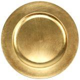 Piatto in plastica 25 cm oro con effetto foglia oro