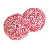 Palla in rattan Ø10cm rosa 10 pezzi