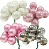 Mini palla di Natale su filo 40mm rosa, argento, bianco 36 pezzi