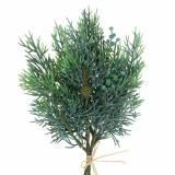 Ramo di ginepro decorativo con coni verde, blu lavato 25 cm 2 pezzi