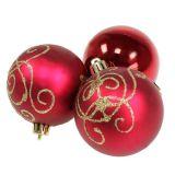 Palla di Natale in rubino di plastica Ø70mm 8 pezzi
