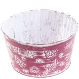 Ciotola di zinco con farfalle viola, bianco lavato Ø18cm H10cm