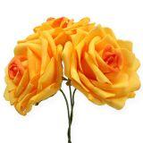 Rose di schiuma giallo scuro Ø10cm 8 pezzi