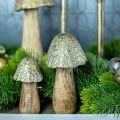 Fungo decorativo metallo legno dorato, decorazione tavola natura autunno 18,5 cm