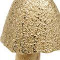 Fungo decorativo grande metallo legno dorato, natura decorativa figura autunno 32cm
